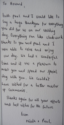 Letter of thanks to Toastmaster - not showing
